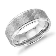 Matte Hammered Comfort Fit Wedding Band in White Tungsten Carbide (8mm)