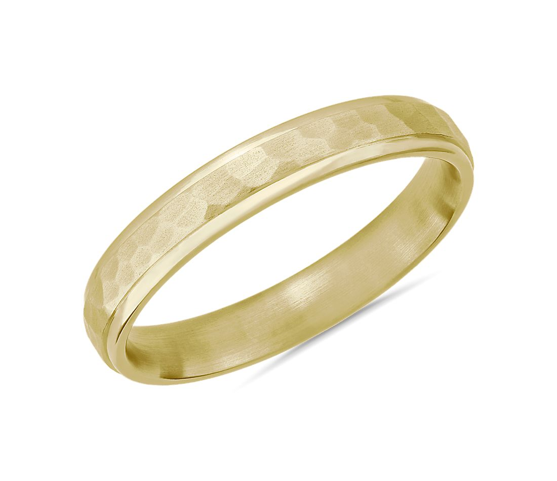 Matte Hammered Inlay Wedding Ring 14k Yellow Gold (4mm)