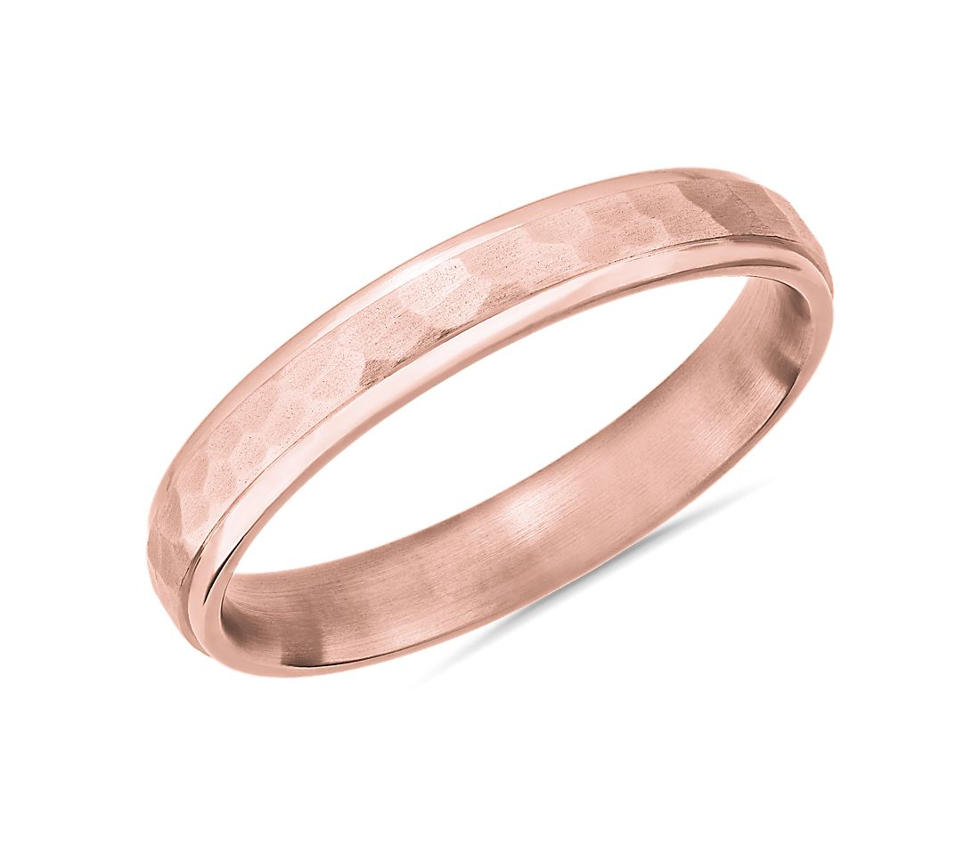 Matte Hammered Inlay Wedding Ring in 14k Rose Gold (4mm)