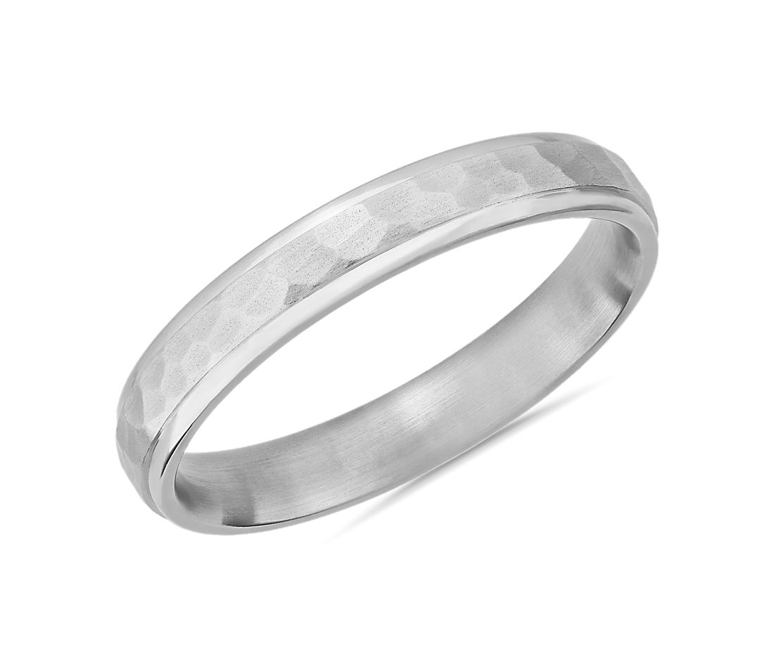Matte Hammered Inlay Wedding Ring in Platinum (4mm)