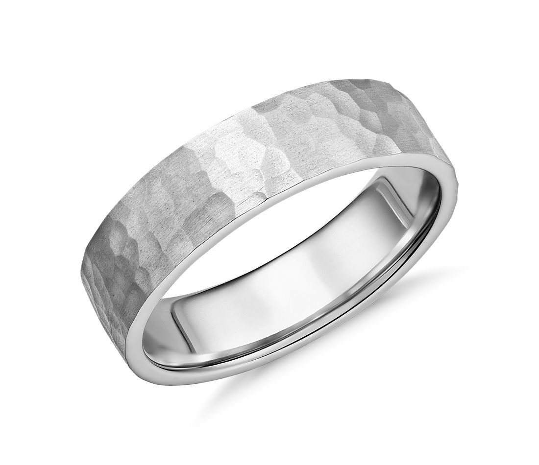 matte hammered flat comfort fit wedding ring in platinum 6mm - Flat Wedding Rings