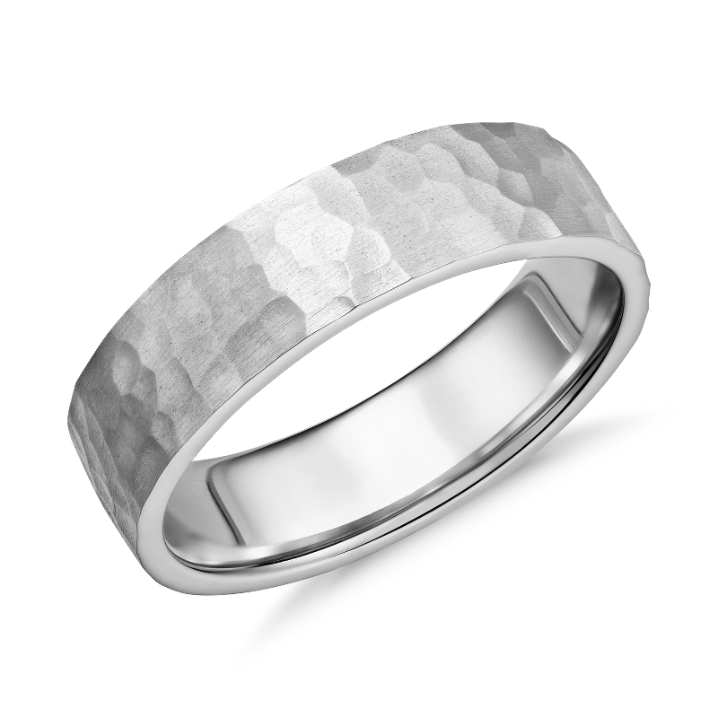 Matte Hammered Flat Comfort Fit Wedding Ring in Platinum (6mm)