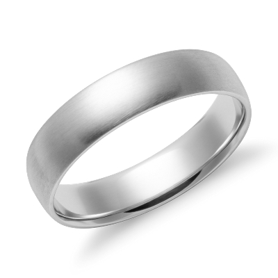 Matte Midweight Comfort Fit Wedding Band in 14k White Gold 5mm