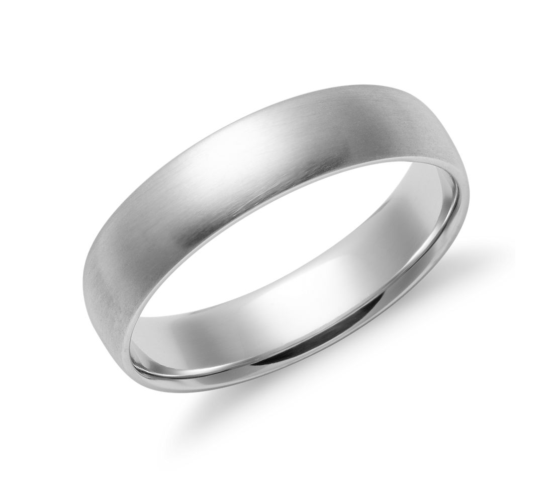 matte mid weight comfort fit wedding band in 14k white gold 5mm - White Gold Wedding Ring