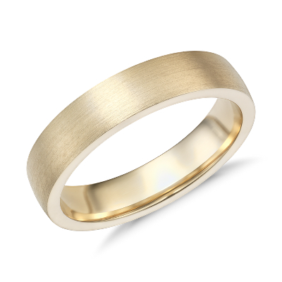 Matte Low Dome Comfort Fit Wedding Ring in 14k Yellow Gold 5mm