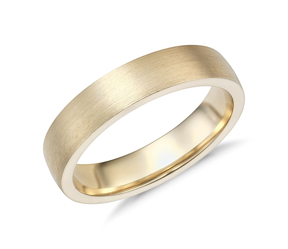 Matte Low Dome Comfort Fit Wedding Ring in 14k Yellow Gold (5mm)