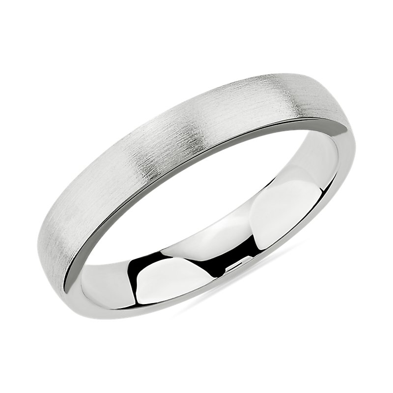 Matte Low Dome Comfort Fit Wedding Ring in 14k White Gold (4mm)