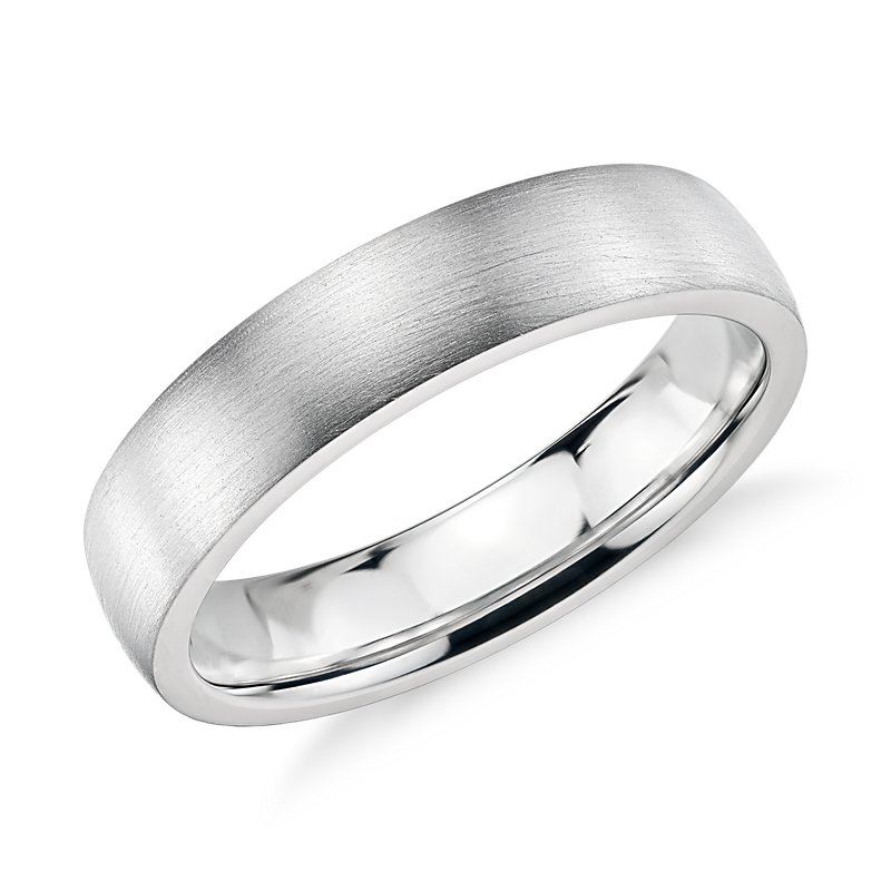 Matte Low Dome Comfort Fit Wedding Ring in 14k White Gold (5mm)