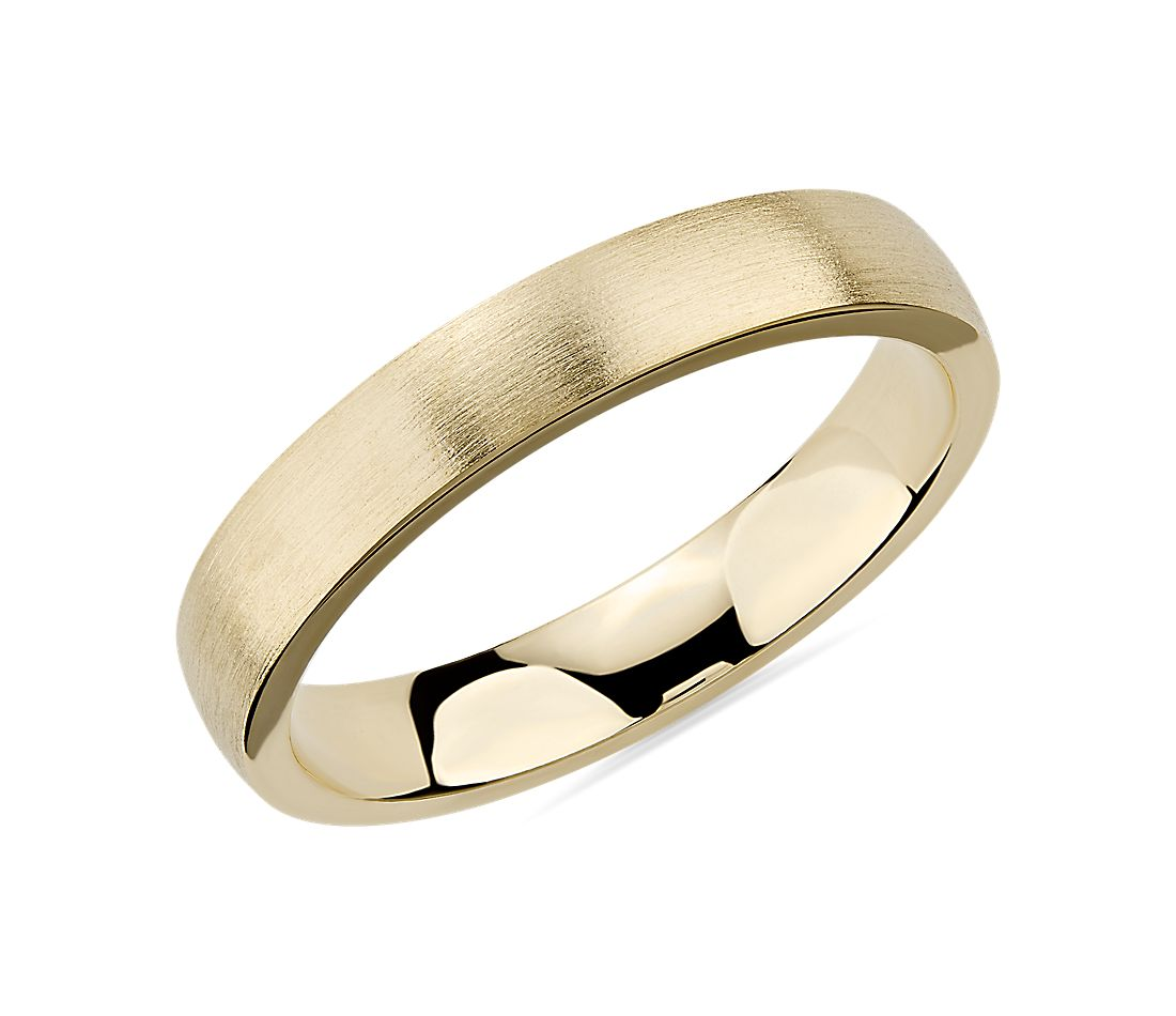 Matte Low Dome Comfort Fit Wedding Ring in 14k Yellow Gold (4mm)