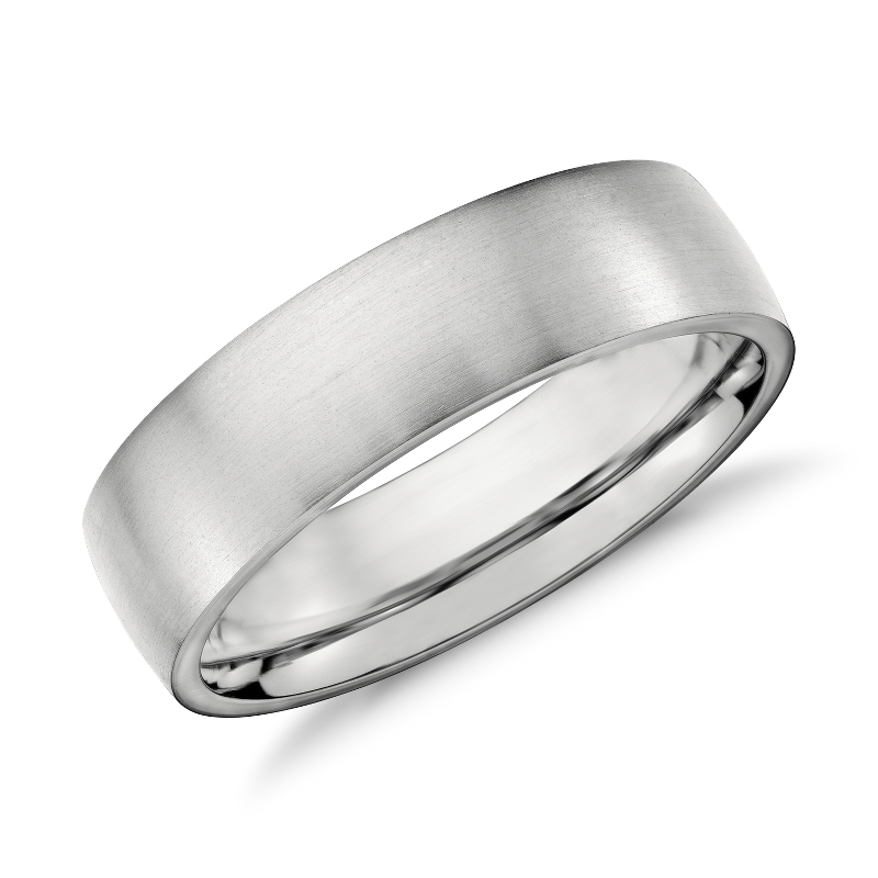 Matte Low Dome Comfort Fit Wedding Ring in Platinum (6mm)