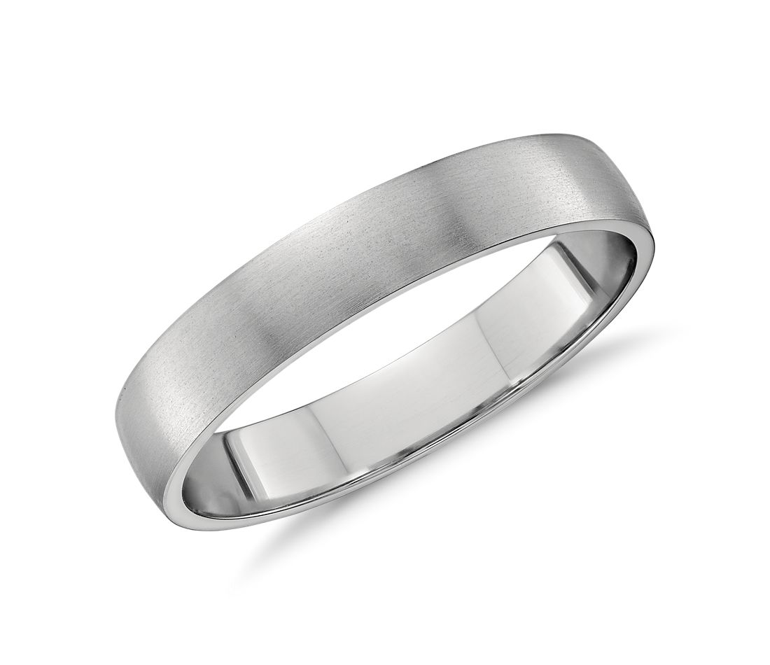 matte low dome wedding ring platinum platinum wedding bands Matte Classic Wedding Ring in Platinum 4mm