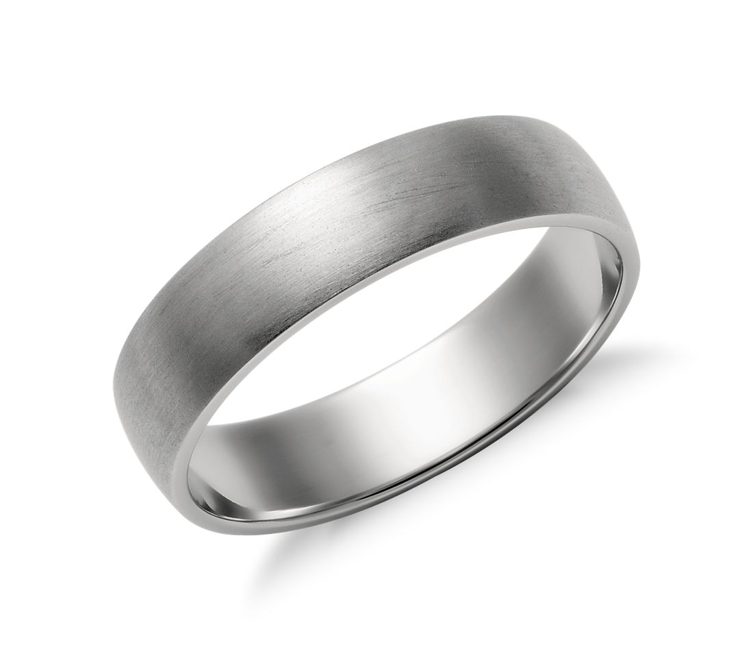 matte wedding ring 14k white gold silver mens wedding bands Matte Classic Wedding Ring in 14k White Gold 5mm