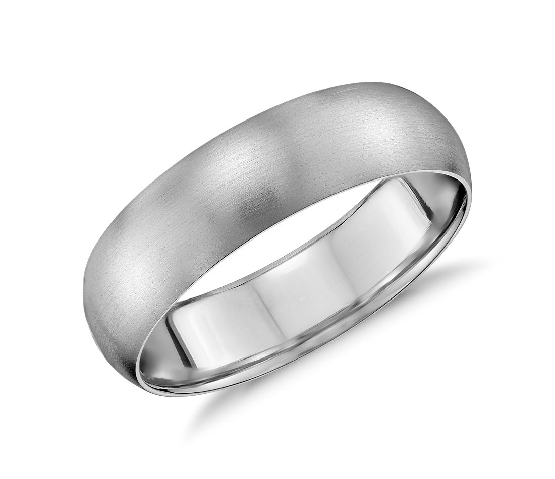 matte mid weight comfort fit wedding band in 14k white gold 6mm - Mens White Gold Wedding Rings