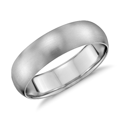 Matte Mid weight Comfort Fit Wedding Band in 14k White Gold 6mm