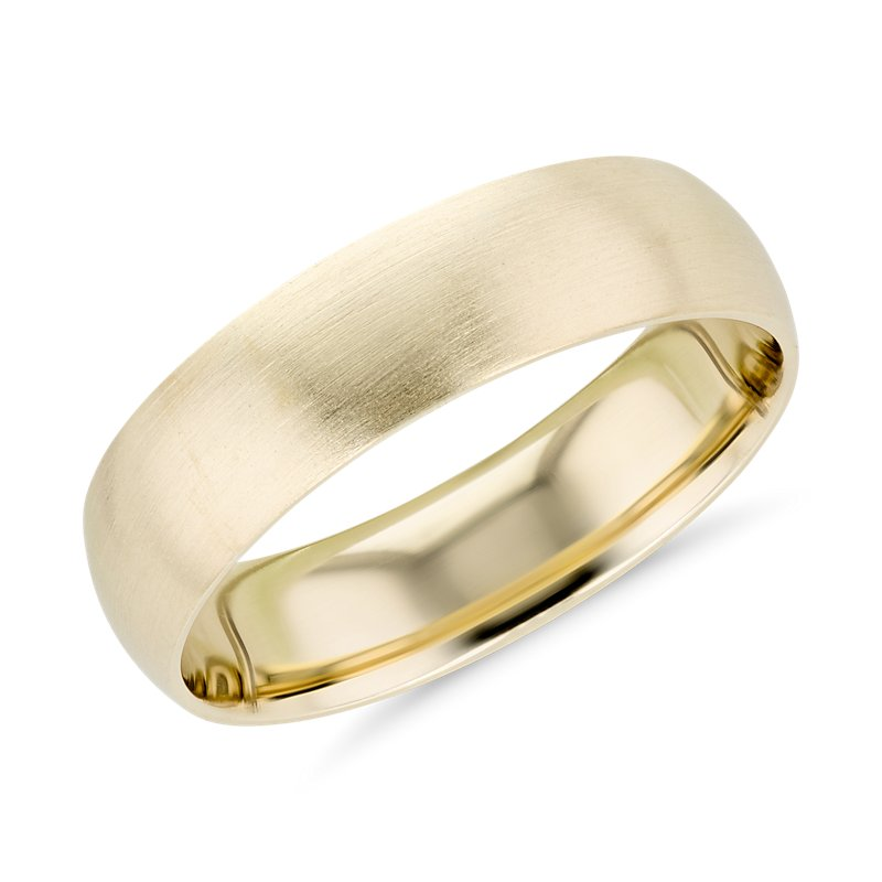 Matte Mid-weight Comfort Fit Wedding Band in 14k Yellow Gold (6mm