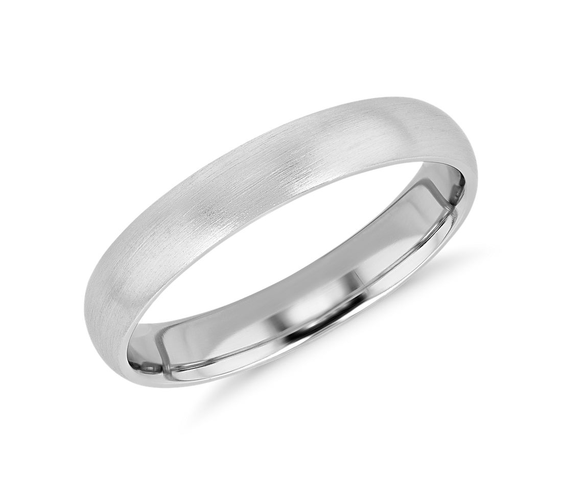 Matte Mid-weight Comfort Fit Wedding Band in Platinum (4mm)