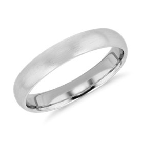 NEW Matte Mid-weight Comfort Fit Wedding Band in Platinum (4mm)