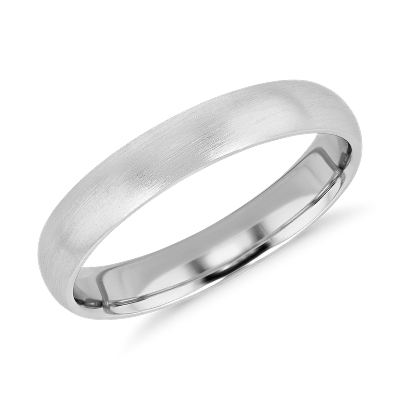 Matte Mid weight Comfort Fit Wedding Band in Platinum 4mm Blue