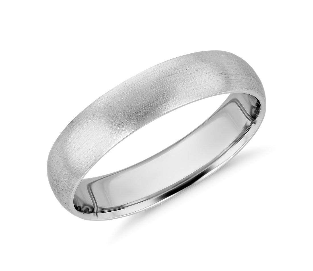 new matte mid weight comfort fit wedding band in platinum 5mm - Wedding Band Rings