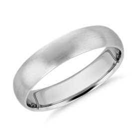 NEW Matte Mid-weight Comfort Fit Wedding Band in Platinum (5mm)