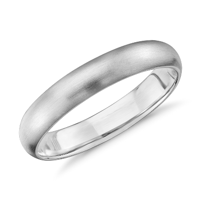 Matte Midweight Comfort Fit Wedding Band in 14k White Gold 4mm
