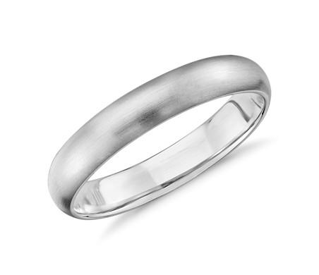 14k 白金哑光中量内圈圆弧设计结婚戒指<br>(4毫米)