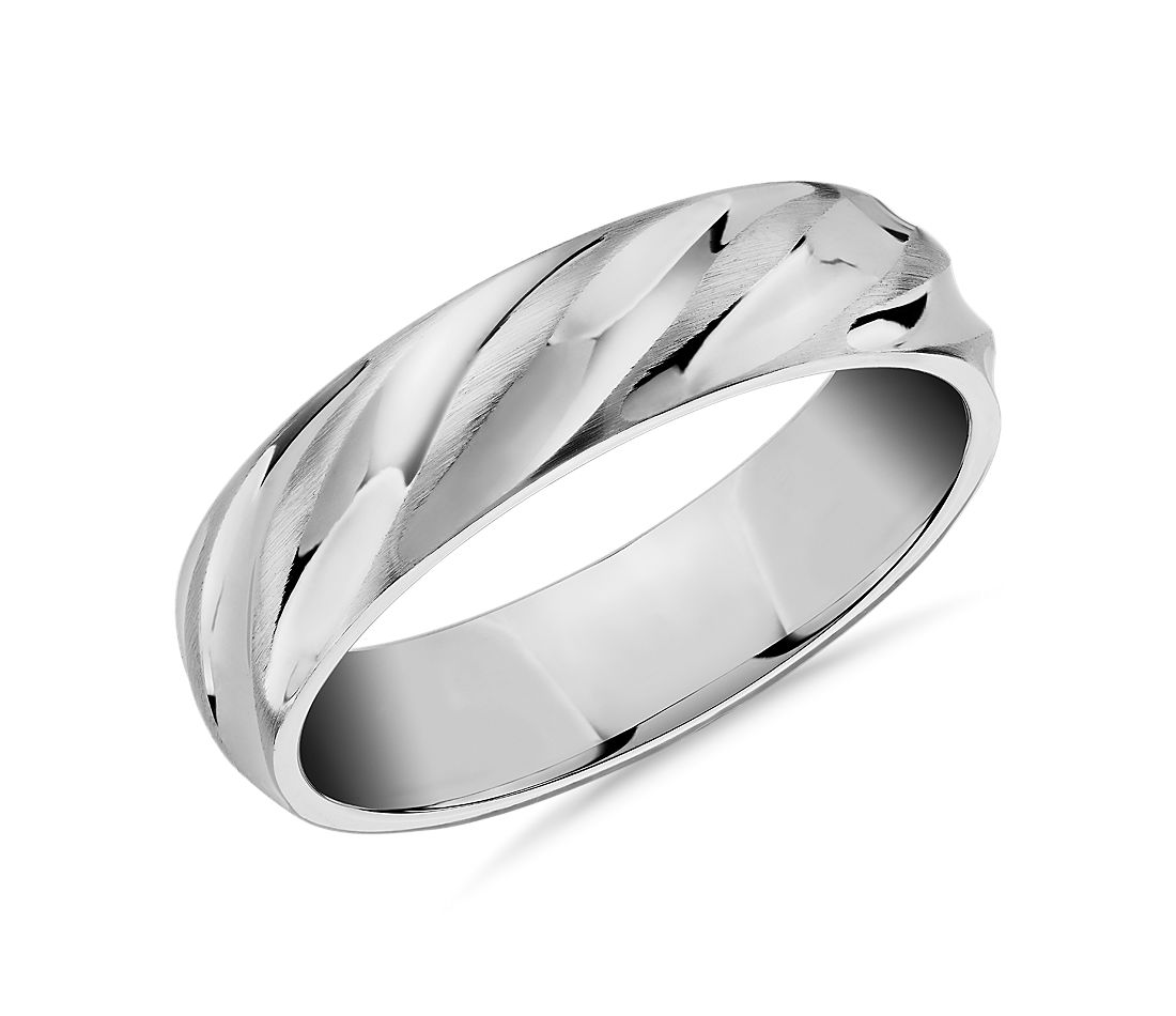 Matte & Polish Twist Wedding Ring in 14k White Gold (6mm)