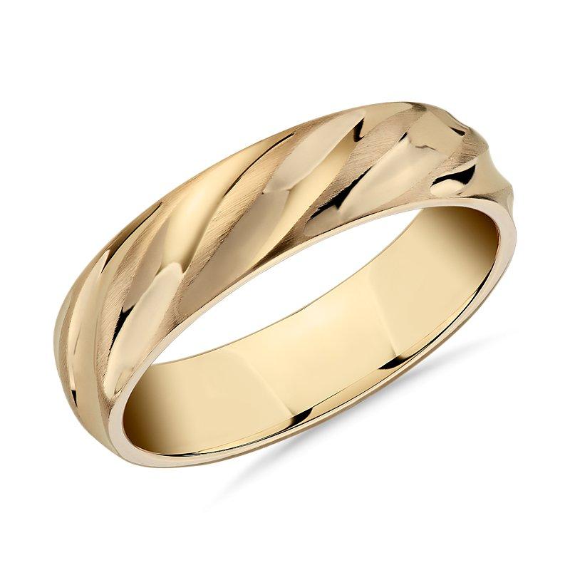 Matte & Polish Twist Wedding Ring in 14k Yellow Gold (6mm)
