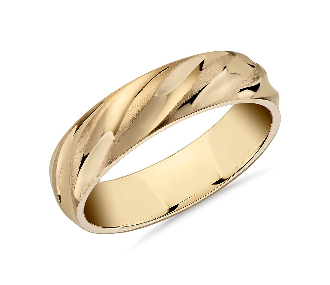 Matte & Polish Twist Wedding Ring in 14k Yellow Gold (6mm)