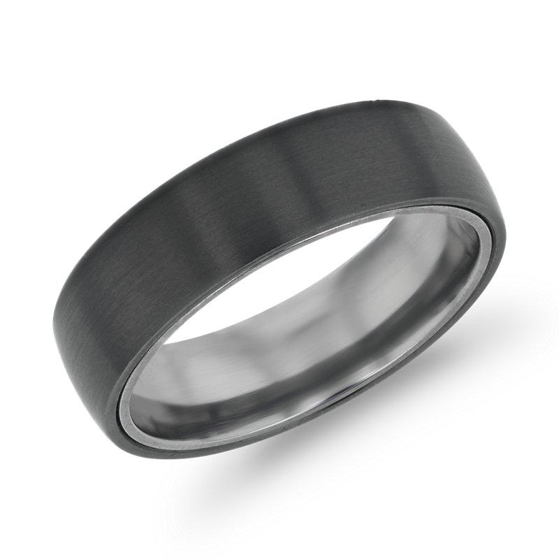 Matte Wedding Ring in Black Titanium and Tantalum (6.5mm)