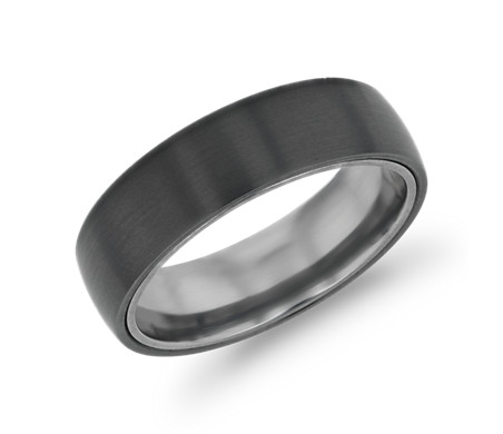 Matte Wedding Ring in Black Titanium and Tantalum (6.5mm)