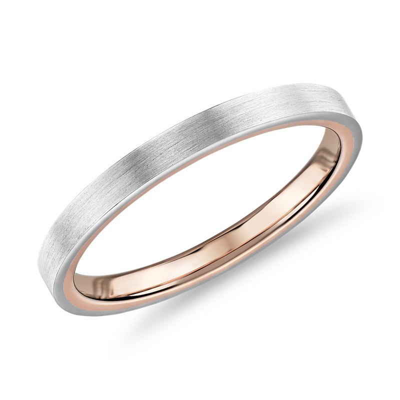 Matte Two-Tone Comfort Fit Wedding Ring in 14k White and Rose Gol