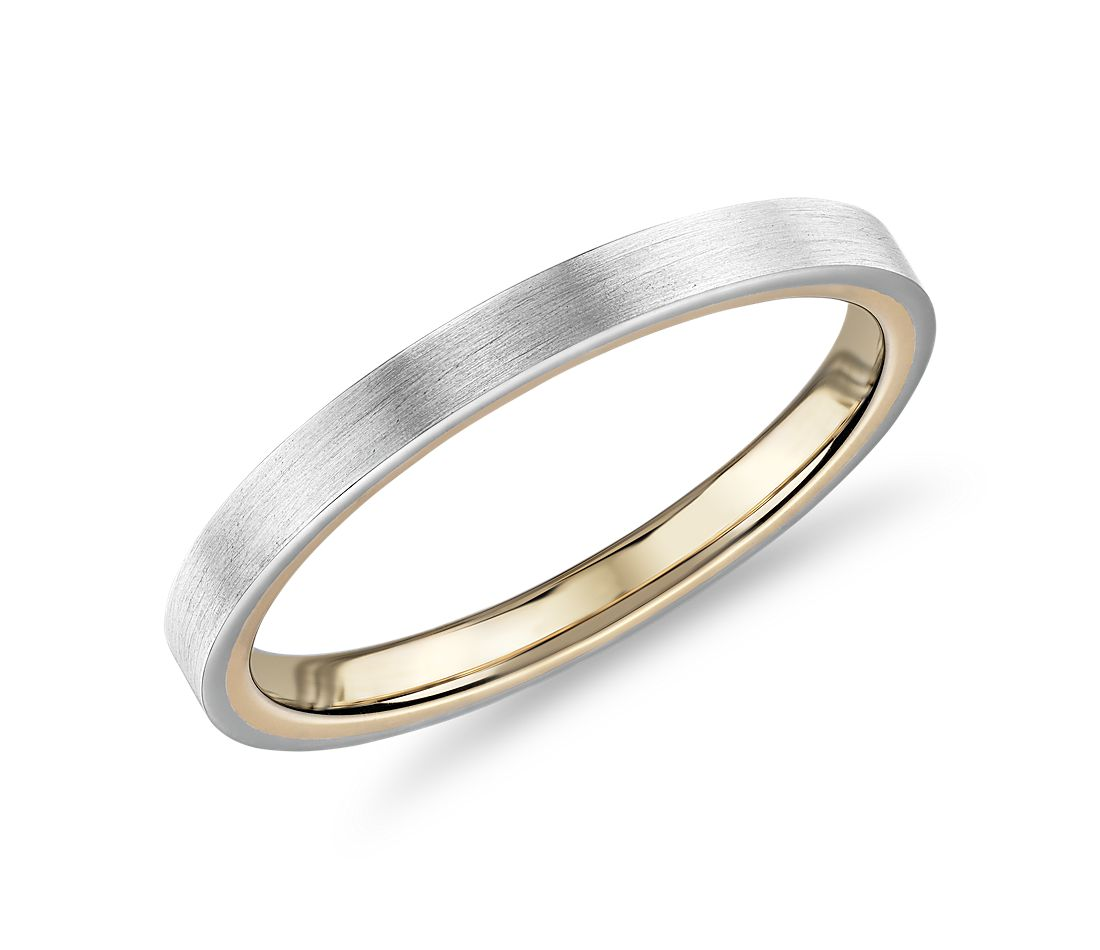 Matte Two-Tone Comfort Fit Wedding Ring in 14k White and Yellow Gold (2mm)