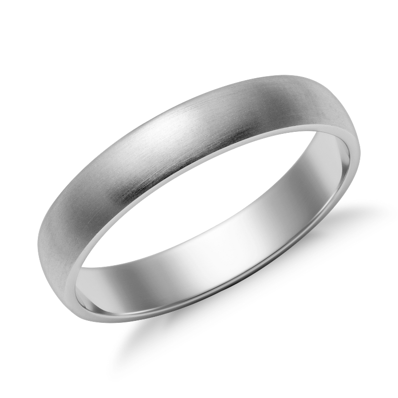 Matte Classic Wedding Ring in 14k White Gold (4mm)