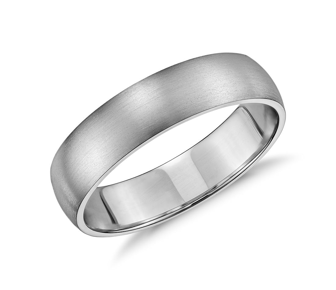 Mid-weight Comfort Fit Wedding Band in 14k White Gold (5mm) | Blue ...