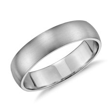 Matte Classic Wedding Ring in 14k White Gold (5mm)