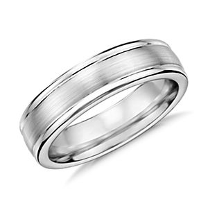 Brushed Inlay Wedding Ring in Cobalt (6mm)