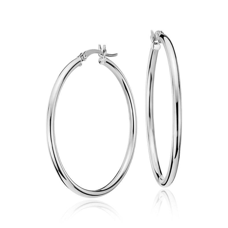 """Medium Hoop Earring in 14k White Gold (1 3/8"""")"""
