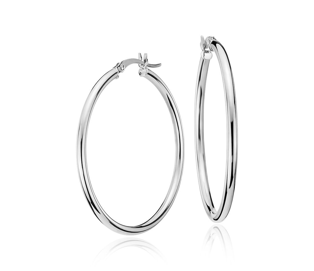 "Medium Hoop Earring in 14k White Gold (1 3/8"")"