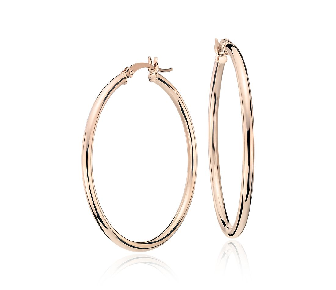 "Medium Hoop Earring in 14k Rose Gold (1 3/8"")"