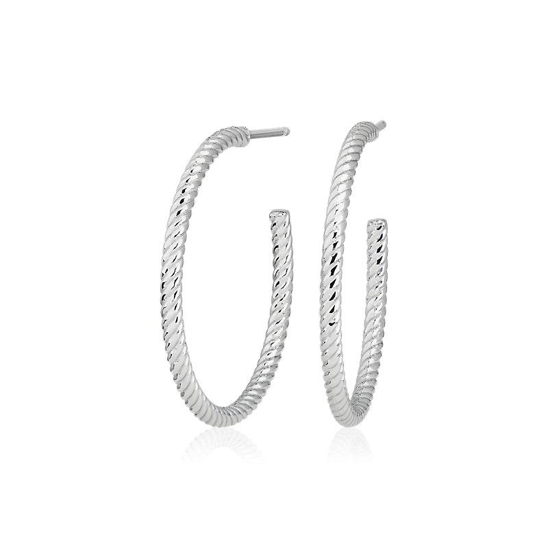 Medium Shimmer Cut Hoop Earrings in Platinum (1)