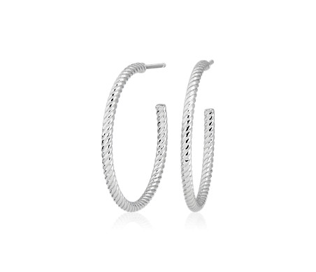 Medium Shimmer Cut Hoop Earrings in Platinum (1')