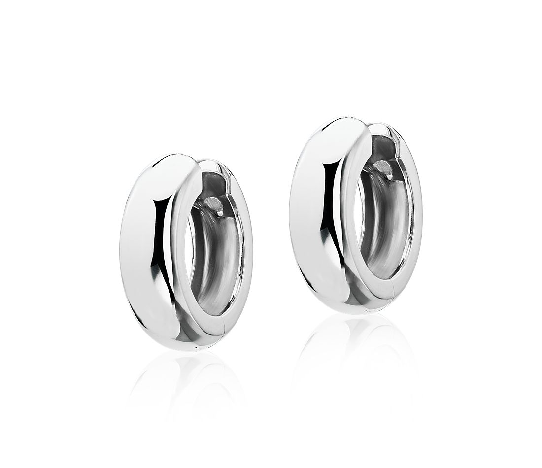 "Medium Wide Hoop Earrings in 14k White Gold (13/16"")"