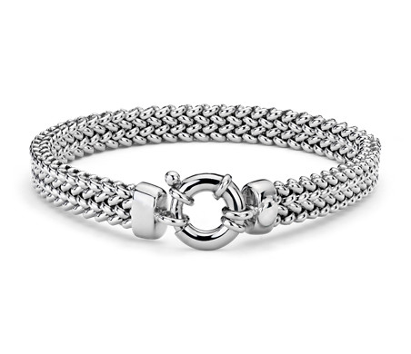 Blue Nile Wide Mesh Bracelet in Sterling Silver vMacc