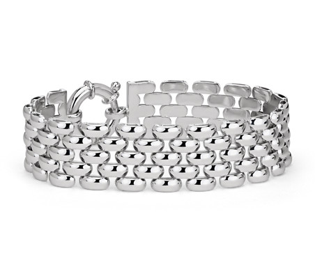 Wide Panther Bracelet in Sterling Silver