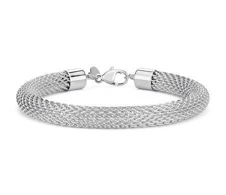 Blue Nile Wide Mesh Bracelet in Sterling Silver 0vFeUeD