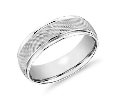 Textured Inlay White Gold Wedding Ring