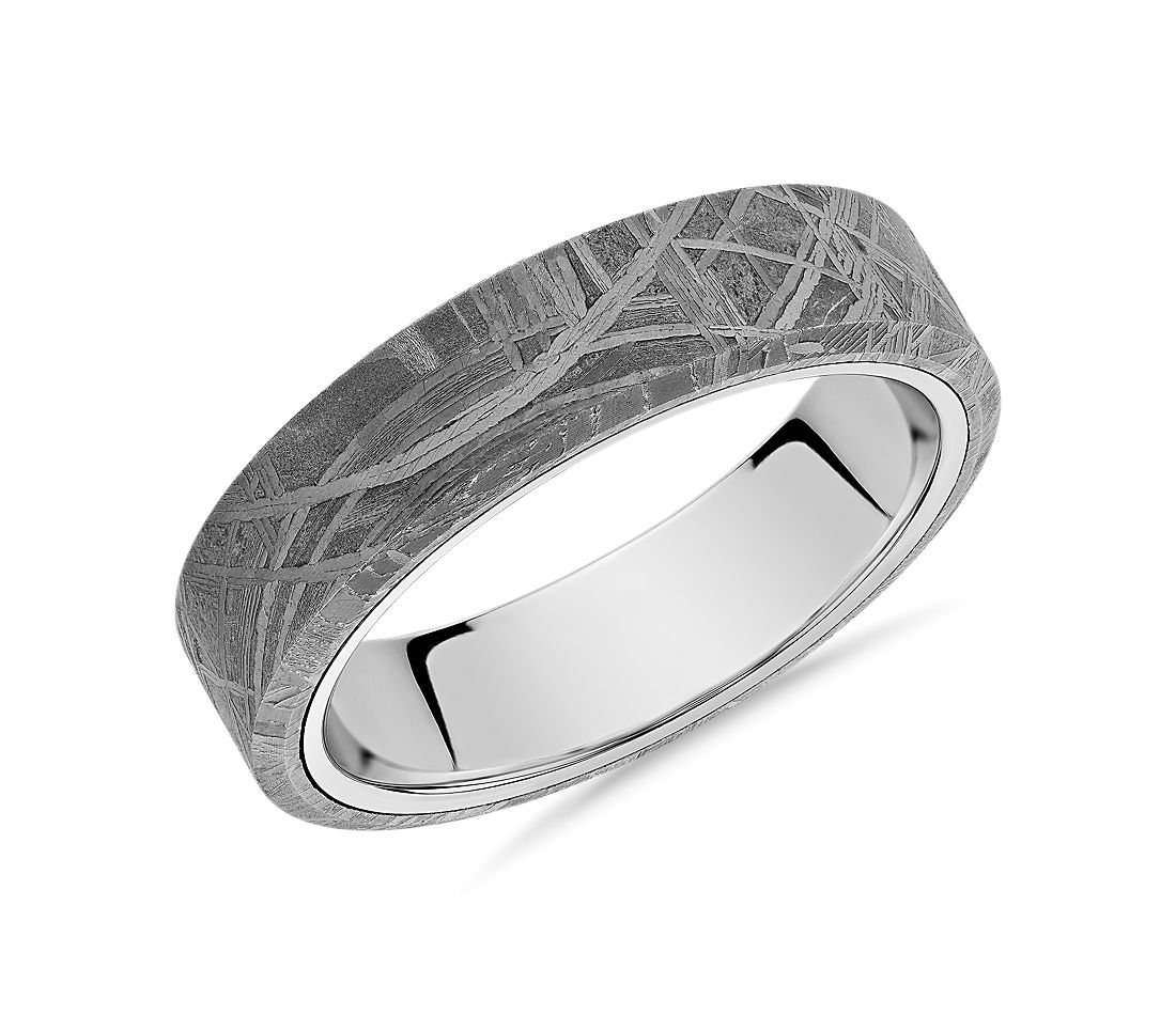 Meteorite Beveled Edge Wedding Ring in White Tungsten Carbide (6mm)