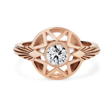 NEW Michelle Fantaci 'Naledi' Bezel-Set Diamond Engagement Ring in 18k Rose Gold