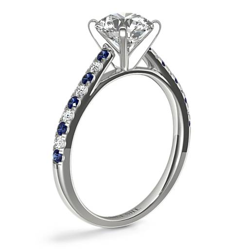 Micropavé Sapphire and Diamond Petite Cathedral Engagement Ring